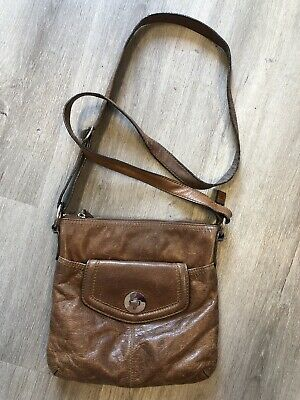 M&S Autograph Brown Leather Crossbody Shoulder Handbag Bag • 9.99£