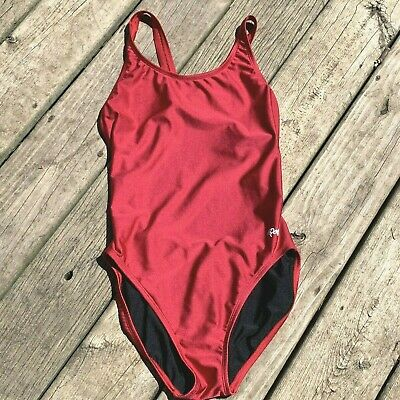 $19.99 • Buy Dolfin Swimsuit Size 38 One Piece Red Racerback Womens Lined Performance