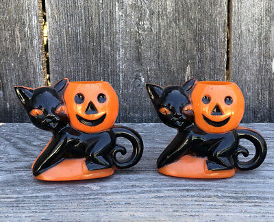 $ CDN66.05 • Buy Vintage Lot Of 2 Rosbro Plastic Halloween Black Cat & Pumpkin Candy Containers