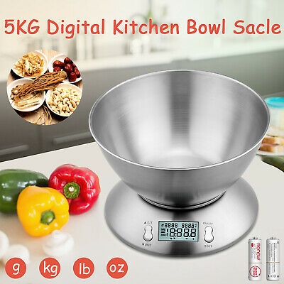 5kg Digital Kitchen Bowl Scales Electronic LCD Display Balance Scale Food Weight • 15.99£