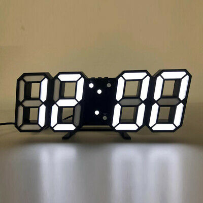 AU22.99 • Buy USB Modern Digital 3D LED Wall Clock Alarm Snooze 12/24 Hour Display Home Decor
