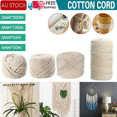 AU12.91 • Buy AU 3/4/5/6 Mm Macrame Rope Natural Beige Cotton Twisted Cord Artisan Hand Craft