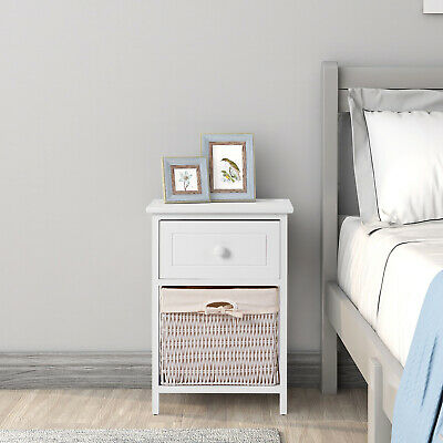 Solid Wood Beside Table White Side Table With Storage Basket Bedroom Living Room • 56.24£