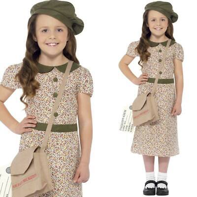 Kids 1940s Girl Fancy Dress Outfit Schooldress Hat Bag 40s Costume • 14.99£