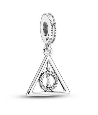🇬🇧💜💜925 Sterling Silver Harry Potter Deathly Hallows Dangle Charm & Pouch • 16.95£