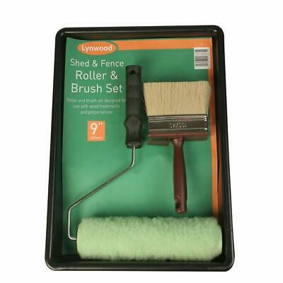 Trojan 9  Shed & Fence Roller Set Complete Decking Paint Kit Block Brush Tray • 8.95£