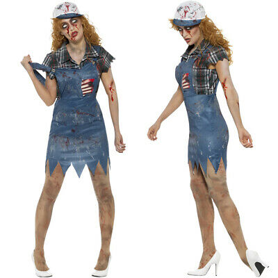 Ladies Zombie Hillbilly Costume Halloween Farmer Dungarees Outfit • 22.49£