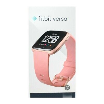 $ CDN205.34 • Buy Fitbit Versa Smart Watch Peach Rose Gold Aluminium One Size S & L Bands Included