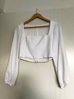 AU60 • Buy Kookai Womens Cropped Long Sleeve Top Natural White Square Neckline - Size 38