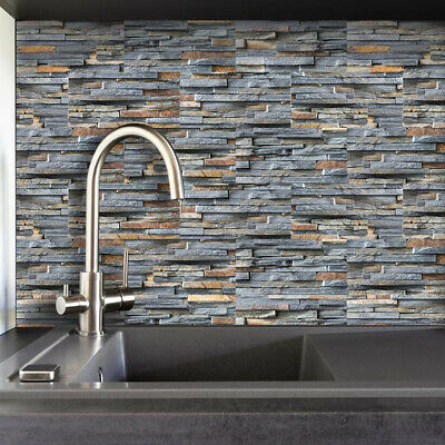 3D Mosaic Tile Sticker Bath Kitchen Wall Tiles Stone Brick Effect Self Adhesive • 8.78£