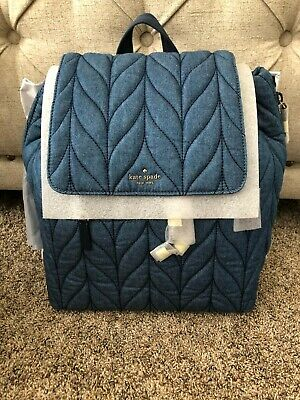 $ CDN263.64 • Buy Authentic Kate Spade New York Large Flap Backpack In Ellie Denim
