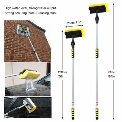 Telescopic Water Fed Window Cleaning Pole Cleaner Squeegee Car Brush Extension • 25.99£