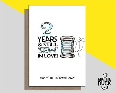 Cute Handmade Greetings Card For 2 2nd Two Years Cotton Wedding Anniversary Gift • 3.99£