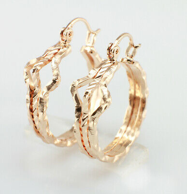 AU10.99 • Buy 18k Gold-Filled Vintage Rope Huggie Hoop Earrings - Small Hoop Earrings