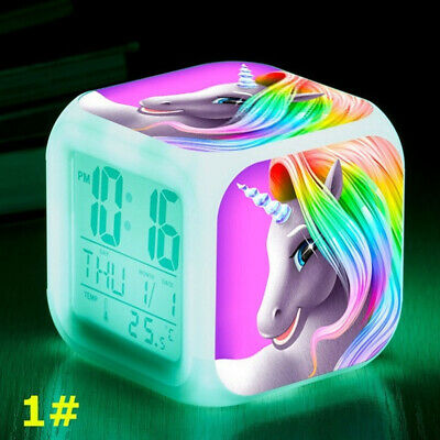 AU18.89 • Buy Kids Digital Alarm Clock Wake-up Light LED Glowing Night Light For Girls Gift AU