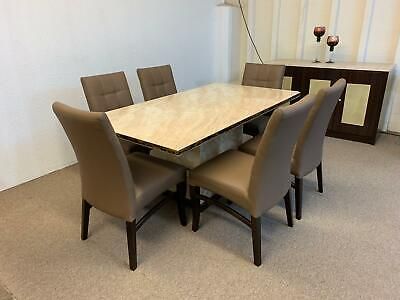 Madird Marble Dining Table Set **Table, Chairs, Coffee Table, Lamp Table** • 1,299£