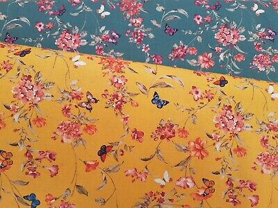 £5.75 • Buy Pink Blossom & Butterfly By John Louden - 100% Cotton Digital Print Fabric