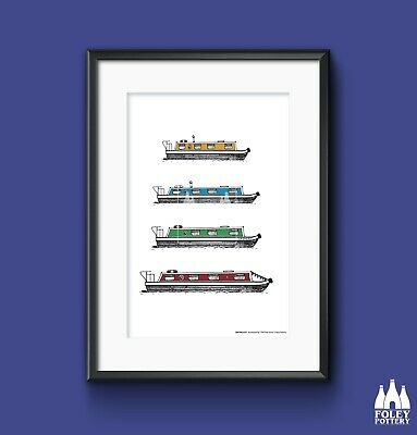 £23.95 • Buy P: Canal, Narrowboat, Barge, Boat, Illustrated Fine Art Print By Foley Pottery
