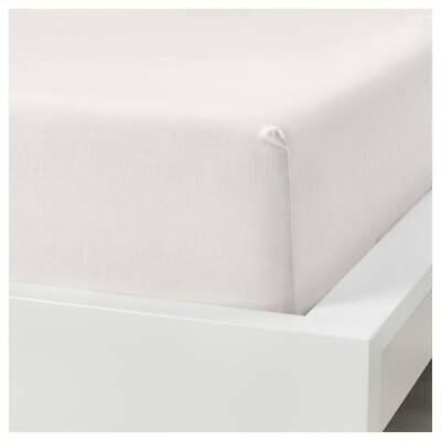 IKEA PUDERVIVA Fitted Linen Bed Sheet - Super King Size (180 X 200 X 36) - White • 49.99£