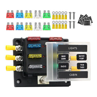 AU18.05 • Buy 6-Way Blade Fuse Box Block Holder LED Indicator Light 12V 32V Marine Boat Car