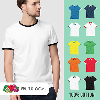 £2.99 • Buy Mens Ringer T-Shirt Fruit Of The Loom Sports 2 Tone Summer Casual Football Tee