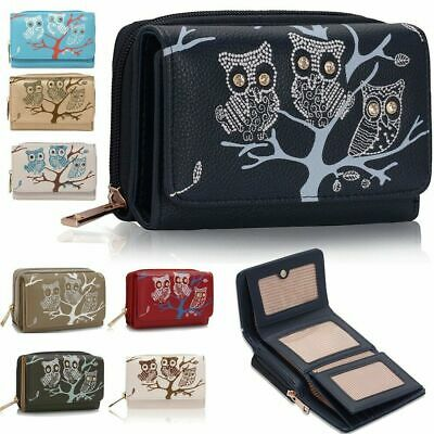 New Ladies Large Size Owl Design Purse Card Coin Money Cash Wallet Faux Leather • 6.99£