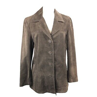 $ CDN58 • Buy DANIER Women's Brown GENUINE SUEDE/ LEATHER Button Up Pocketed Jacket Size S