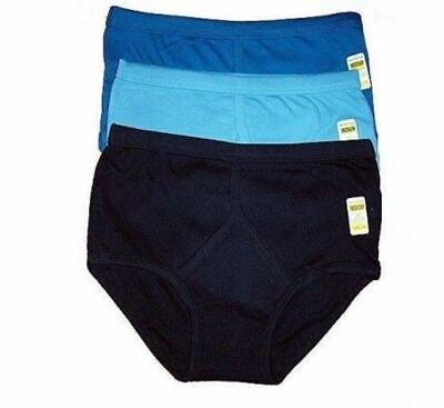 3 Mens Y Fronts 100% Cotton Interlock Briefs Underwear White/ Blue /S M L XL XXL • 6.98£