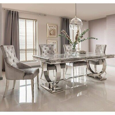 The Arianna Grey Marble Dining Set With 4/6 Knocker Back Dining Chairs (180 CM) • 1,250£