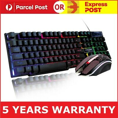 AU29.95 • Buy PC Laptop Gaming Wired USB LED Keyboard And Mouse Combo Set For Xbox - Black