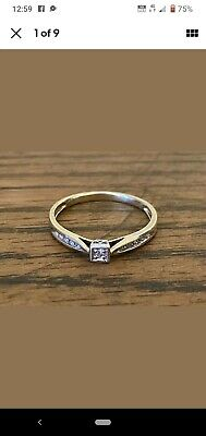 AU320 • Buy Genuine 9ct Yellow Gold Engagement Ring With Diamonds Size R 1/2