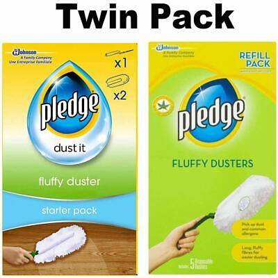 Pledge Fluffy Dusters Starter Kit Dry Dusting Cleaning Cloth Pack Or REFILL UK • 7.45£