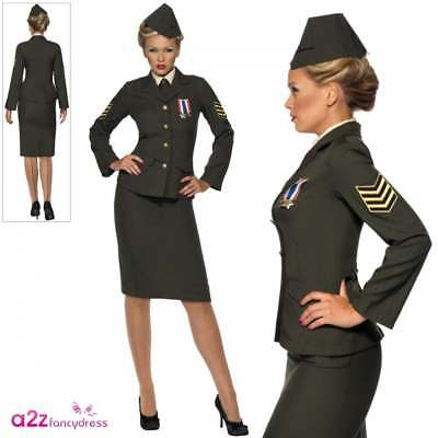 Ladies Wartime Officer Costume 1940's WW2 Army Uniform Fancy Dress UK 8-26 • 29.95£