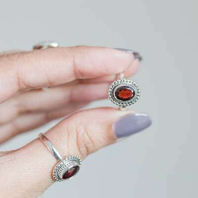 Garnet Stone Ring Solid 925 Sterling Silver Ring Band Handmade Jewelry R194 • 11.96£
