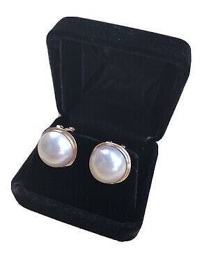 $405 • Buy 14K Classic White Mabe Pearl Earrings, Omega Clasp, 15mm Diameter, Rarely Worn.