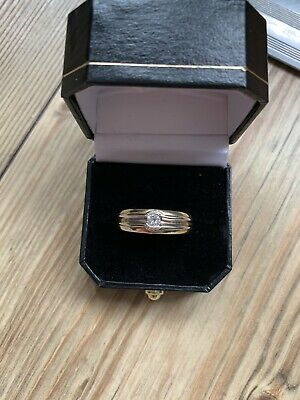 18ct GOLD DIAMOND SOLITAIRE GENTS RING 10g • 500£