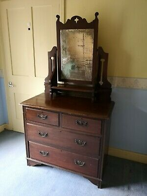 £25 • Buy Antique Edwardian Art Nouveau Dressing Chest/Table With Swing Mirror