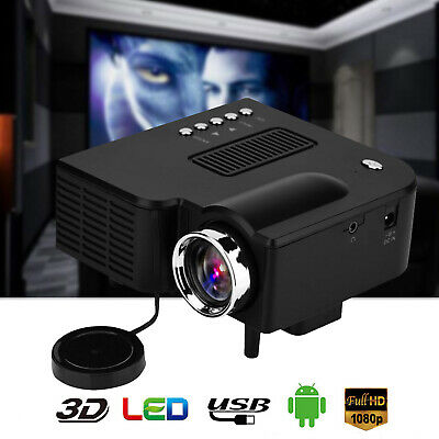 Mini LED Projector HD 1080P Portable Home Theater Cinema USB HDMI Multimedia AV • 25.99£