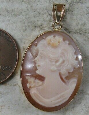 $150 • Buy Vintage 14K Solid Gold 2 Sided Cameo Pendant Italy M&M Scognamiglio