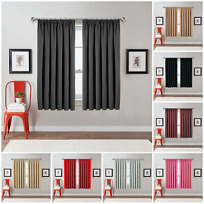 Blackout Thermal Pencil Pleat Ready Made Window Curtains Pair Panel With Tieback • 17.49£