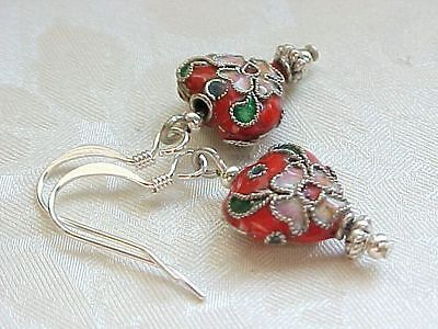 AU16.61 • Buy Valentines Day Earrings Cloisonne Red Rose Heart Romantic Love Engagement Gift
