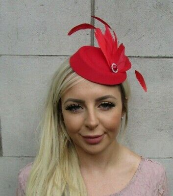 Red Silver Feather Pillbox Hat Hair Fascinator Races Wedding Vintage Style 0656 • 17.95£