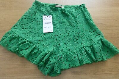 BNWT ZARA Ladies Green Lace Shorts - Size S • 7.50£