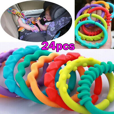 Plastic Baby Kids Infant Stroller Play Mat Toys Rainbow Teether Ring Links Toy ` • 4.99£