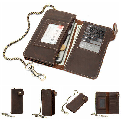 UK Mens Genuine Leather Long Wallet Bilfold Motor Biker Chain Purse Card Holder • 17.81£