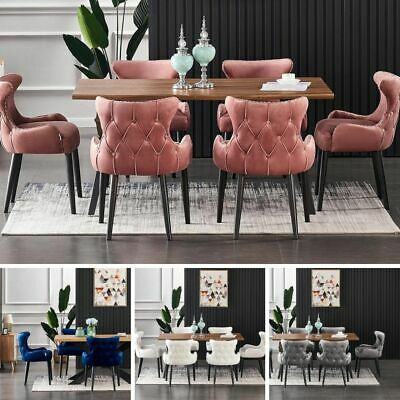AU752.99 • Buy Luxury Oak/Walnut Effect Dining Table Set Velvet Chairs Set Of 4 And 6 Seater