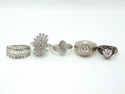 $ CDN112.05 • Buy LOT Of 5 Sterling Silver CZ Fashion Rings, 28.1g