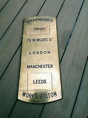 Antique Chatwood Brass Safe Plaque • 160£