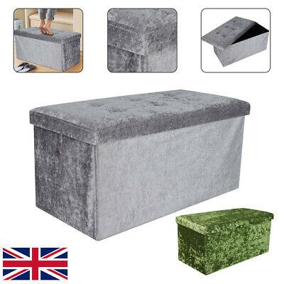 Bedroom 2 Seater Crushed Velvet Ottoman Double Storage Bin Box Bed Foot Stool • 17.99£
