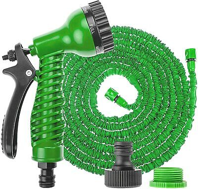 Heavy Duty Garden Flex Hose Pipe Expandable Stretch Water Spray Gun 50FT Blue UK • 8.27£